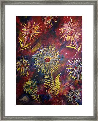 Framed Print featuring the painting Hippy Flowers by Nico Bielow