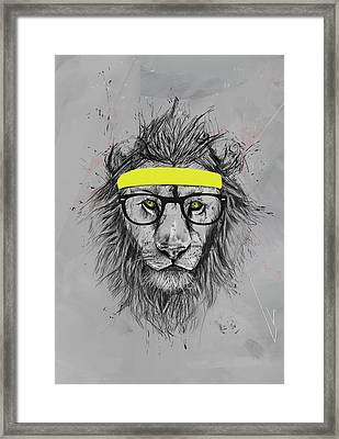 Hipster Lion Framed Print by Balazs Solti