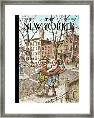 Hipster Stole Framed Print by Ricardo Liniers