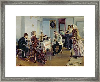 Hiring Of A Maid, 1891-92 Oil On Canvas Framed Print by Vladimir Egorovic Makovsky