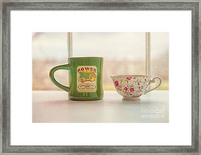 His And Her Coffee Cups Framed Print by Kay Pickens