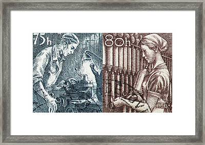 His And Hers Blue Collar Vintage Postage Stamp Details Framed Print by Andy Prendy