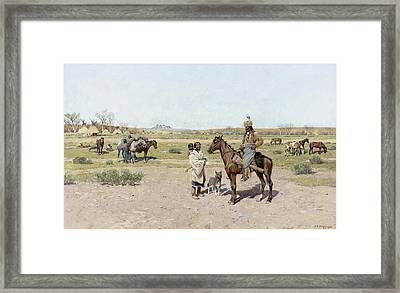 His Favorite Wife Framed Print by Henry  Farny