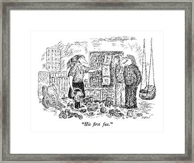His First Fax Framed Print by Edward Koren