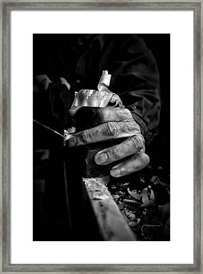 His Hands Framed Print by Nathan Larson