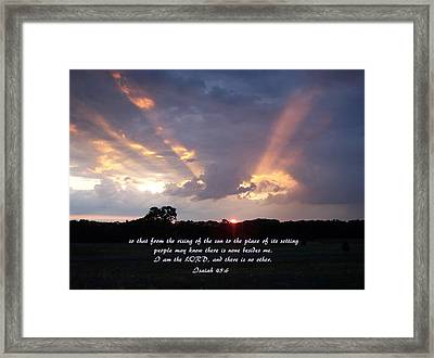 His Light Framed Print by Tammy Davis