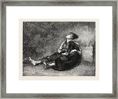 His Only Friend A Boy And A Dog Asleep Next To A Milestone Framed Print