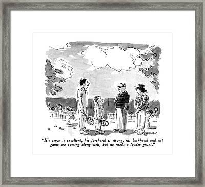 His Serve Is Excellent Framed Print by James Stevenson