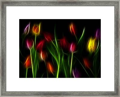 Framed Print featuring the digital art His Tulips by Karen Showell