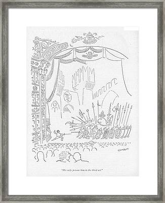 His Wife Poisons Him In The Third Act Framed Print by Saul Steinberg