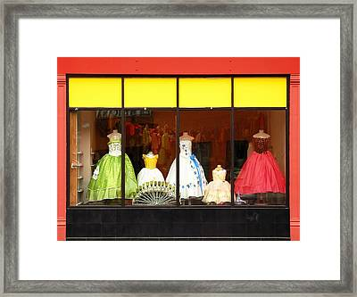 Hispanic Dress Shop Framed Print by Jim Hughes