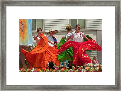 Hispanic Women Dancing In Colorful Skirts Art Prints Framed Print