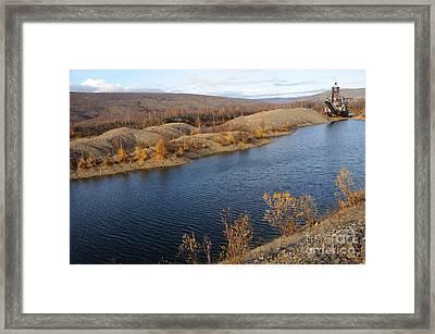 Historic Alaska Gold Dredge In Fall Framed Print by Gary Whitton