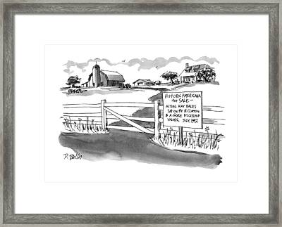 Historic Americana For Sale - Actual Hay Bales Framed Print