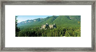 Historic Banff Springs Hotel In Banff Framed Print by Panoramic Images