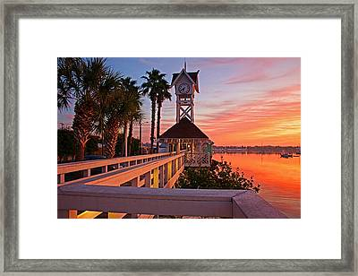 Historic Bridge Street Pier Sunrise Framed Print by HH Photography of Florida
