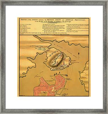 Historic Bunker Hill Battleground Map 1775 Framed Print by Mountain Dreams