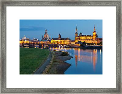 Historic Center Of Dresden At Dusk Framed Print by Panoramic Images