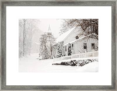 Framed Print featuring the photograph Historic Church In Oella Maryland During A Blizzard by Vizual Studio