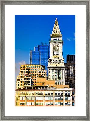 Historic Custom House Clock Tower - Boston Skyline Framed Print by Mark E Tisdale