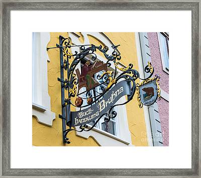 Historic Fussen Bear Bookstore Sign - Germany Framed Print by Gary Whitton