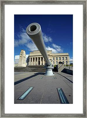 Historic Gun And Auckland War Memorial Framed Print