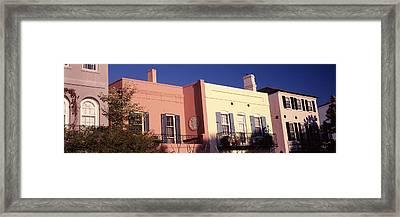 Historic Houses In Rainbow Row Framed Print