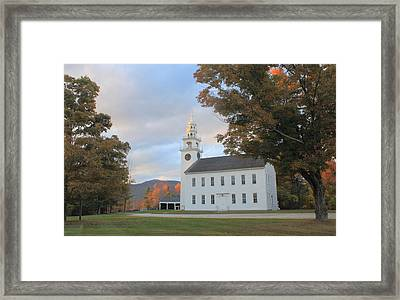 Historic Jaffrey Meetinghouse And Mount Monadnock Early Autumn Framed Print by John Burk