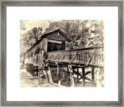 Historic Kymulga Covered Bridge Toned Framed Print