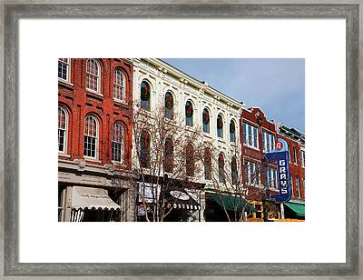 Historic Main Street With Red Brick Framed Print