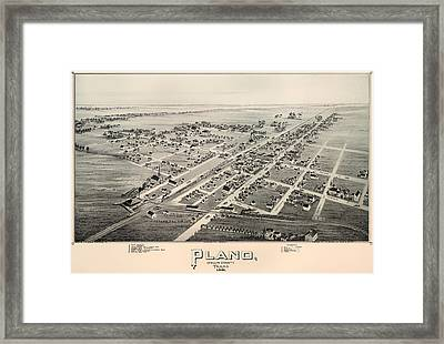 Historic Map Of Plano Texas 1891 Framed Print by Mountain Dreams