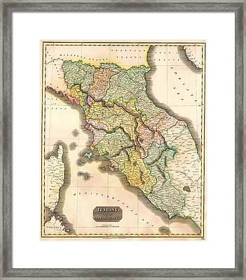 Historic Map Of Tuscany 1814 Framed Print by Mountain Dreams