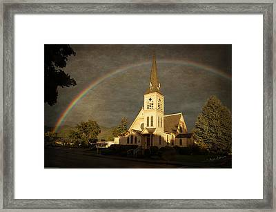 Historic Methodist Church In Rainbow Light Framed Print