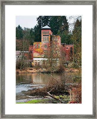 Historic Old Brewery By Creek Framed Print