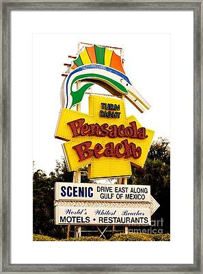Historic Pensacola Beach Sign Framed Print by Janice Spivey