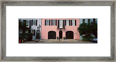 Historic Pink Home In Charleston, Sc Framed Print