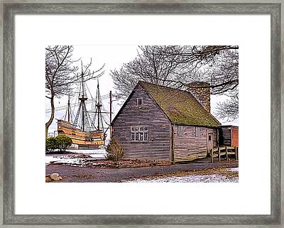 Historic Plymouth Ma Harbor Framed Print by Janice Drew