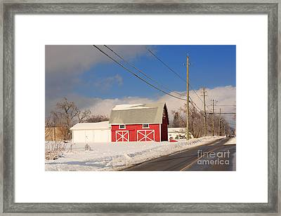 Historic Red Barn On A Snowy Winter Day Framed Print by Louise Heusinkveld
