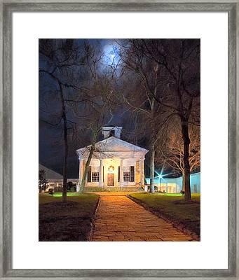 Historic Roswell Presbyterian Church By Night Framed Print