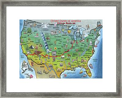 Historic Route 66 Cartoon Map Framed Print