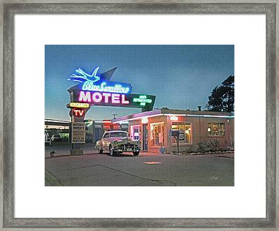 Historic Rt. 66 Blue Swallow Motel Framed Print by Gordon Beck