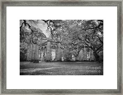Historic Sheldon Church 6 Bw Framed Print
