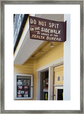 Historic Sign Prohibiting Spitting Framed Print by Jim West