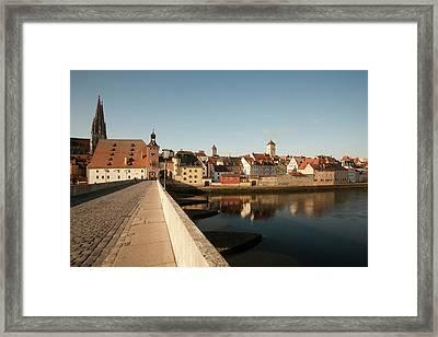 Historic Stone Bridge Over The Danube Framed Print