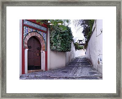 Historic Street At Albaycin In Granada' Framed Print
