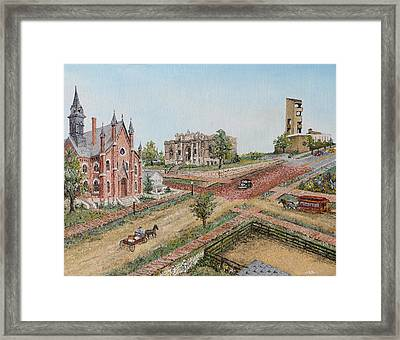 Framed Print featuring the painting Historic Street - Lawrence Kansas by Mary Ellen Anderson