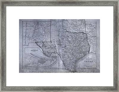 Historic Texas Map Framed Print by Dan Sproul