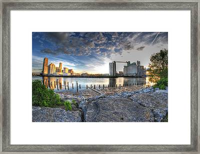 Historic View Of The Grain Elevators And General Mills Framed Print