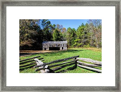 Historical Cantilever Barn At Cades Cove Tennessee Framed Print by Kathy Clark