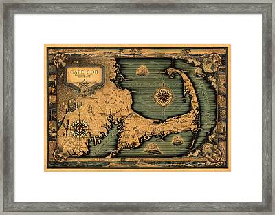 Historical Map Of Cape Cod Framed Print by Andrew Fare